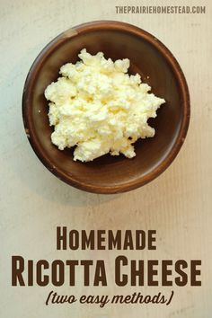 homemade ricotta cheese recipe -- there are two methods included in this post, and I've used both with great results!