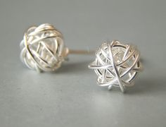Stud Earrings, Sterling Silver Stud Earrings, Bridesmaids Gifts   These special wire wrapped studs, are made with 925 sterling silver wire and
