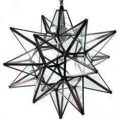 "16"" Moravian Clear Glass and Bronze Starlight 13CG-B"