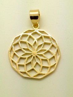 Octagon Flower of Life Pendant - 14K gold plated seed of life sacred geometry #na #Pendant