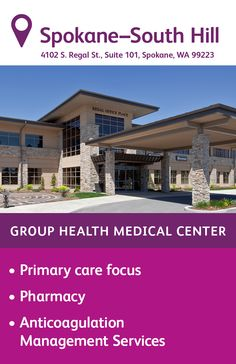 The Group Health South Hill Medical Center in Spokane features primary care delivered by family medicine, internal medicine, and pediatric physicians. You'll also find a pharmacy on site and anticoagulation management services. South Hill, Group Health, Internal Medicine, Primary Care, Medical Center, Pediatrics, Pharmacy, Management, House Styles