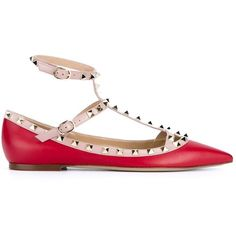 Valentino Garavani Rockstud ballerinas ($1,005) ❤ liked on Polyvore featuring shoes, flats, red, ballet flat shoes, pointy-toe flats, red shoes, ballerina pumps and studded flats