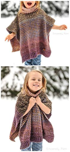 This cute poncho is very lightweight and easy to make. It's perfect for winter activities, because it warm and breathable, but doesn't restrict your movements. Sie Kleidung Muster Kinder Warm And Light Poncho Free Crochet Pattern Crochet Girls, Crochet For Kids, Free Knitting, Baby Knitting, Crochet Shawl, Free Crochet Poncho Patterns, Kids Poncho Pattern, Crochet Baby Poncho, Free Pattern