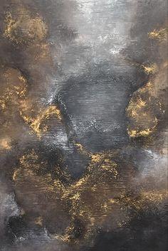 Abstract art: #9 Abstrakte Kunst von Bernd Eppler. Acrylfarben auf Leinwand, 120 x 80 cm Gold, Struktur