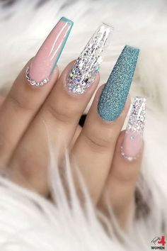 Bling Acrylic Nails, Summer Acrylic Nails, Best Acrylic Nails, Bling Nails, Swag Nails, Gel Nails, Gorgeous Nails, Pretty Nails, Cute Acrylic Nail Designs