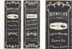 French Cafe Signs, Set of 2 - From Antiquefarmhouse.com - http://www.antiquefarmhouse.com/current-sale-events/farmhouse-french-decor/french-cafe-signs-set-of-2.html