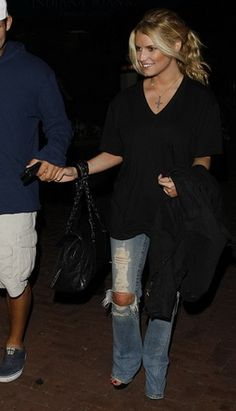 Jessica Simpson wearing True Religion Joey Jean Destroyed, Chanel Vintage Ligne Large Duffel Bag,  Nobu In Malibu August 10 2008