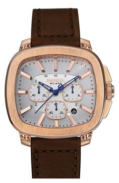 Men's Breil 'Capital' Rectangular Chronograph Leather Strap Watch