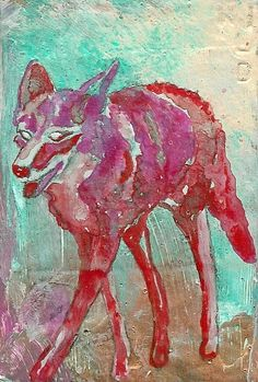Wild, organic curiosity leads you right where you were already going. Coyote travels the rough terrain, establishing territories everywhere. Plague Dogs, Maned Wolf, African Wild Dog, Heart Painting, Wild Dogs, Animal Totems, Spirit Animal, Pixie, Fine Art Prints