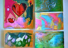 SANDPAPER:          1.Cornstarch/Water & watercolor        2.Chalk        3.Crayon & watercolor