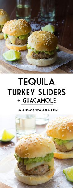 Tequila Turkey Sliders with Fresh Guacamole | sweetpeasandsaffron.com @sweetpeasaffron