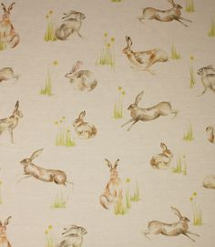 These hares are leaping into action on this printed fabric! Looks fantastic when made up into curtains, or why not use for a feature roman blind? Also suitable for cushions. Buy online or visit us in Burford, Oxfordshire or Cheltenham, Gloucestershire to view this and thousands more designer fabrics at fantastic prices!