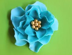 fondant flowers 12 Shabby chic Turquoise gold blossom edible cake topper cupcake toppers decorations favors wedding birthday christening by InscribingLives (19.99 USD) http://ift.tt/1LLd7K3