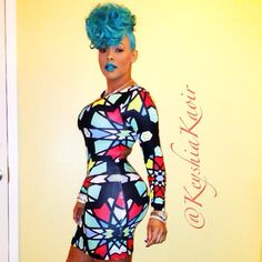 KEYSHIA KA'OIR wearing BLUE HAIR and KA'OIR COSMETICS