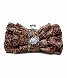 Leopard-Animal-Print-Brown-Ruffle-Rhinestone-Handbag-Purse-Clutch