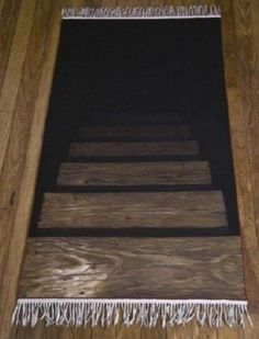 fake stairs rug gives the illusion the floor is a stairway leading to ... seriously in front to lead to a hidden passageway