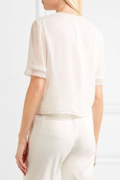Giambattista Valli - Lace-trimmed Silk Top - Ivory - IT42