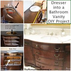 Beneath My Heart website shares how to upcycle and re purpose a dresser into stylish bathroom vanity with storage. Diy Vanity, Dresser Vanity Bathroom, Furniture Vanity, Bathroom Vanities, Sinks, Refinished Furniture, Diy Furniture Hacks, Repurposed Furniture, Dresser Repurposed