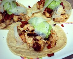 Gluten-free, healthy recipes. Healthy tacos. Chicken, bacon and Date Tacos with Pistachio Pesto!