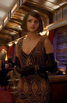 Clara Oswald (Jenna Coleman) on the Orient Express Beaded Flapper Dress, 20s Flapper, Jenna Coleman, Doctor Who Clara, Doctor Who Companions, Gowns For Girls, Flappers, Dr Who, V Neck Dress