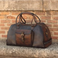 Handcrafted Custom Made Luxury Travel Duffel in Grey, Medium Brown and Dark Brown Painted Calf Leather From Robert August. Create your own custom designed shoes. Custom Made Shoes, Custom Design Shoes, Leather Luggage, Leather Backpack, Leather Bags, Leather Sandals, Leather Working, Travel Bags, Calf Leather
