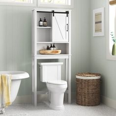 Sand & Stable Craddock 27.2'' W x 66.9'' H x 9.1'' D Over-The-Toilet Storage & Reviews | Wayfair Cabinet Shelving, Open Shelving, Adjustable Shelving, Shelves, Wood Floor Bathroom, Bathroom Cabinets, White Wood Floors, Christmas Storage, Toilet Storage