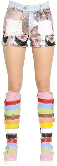 Embellished Cotton Denim Shorts #sushi #sequins #rainbow #colorful #fashion