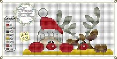 Peeping Santa and Rudolph X-stitch pattern