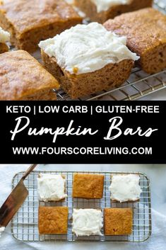 Only 9 ingredients in these keto pumpkin bars! These keto pumpkin bars are low carb dairy-free and sugar-free. Only 9 ingredients in these keto pumpkin bars! These keto pumpkin bars are low carb dairy-free and sugar-free. Keto Desserts, Keto Snacks, Dessert Recipes, Carb Free Desserts, Diabetic Snacks, Keto Foods, Cookie Recipes, Healthy Pumpkin Bars, Gluten Free Pumpkin Bars
