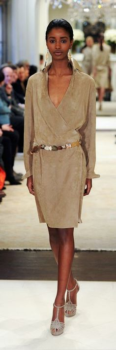 Ralph Lauren Pre-Fall 2014 RTW - suede afternoon dress