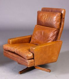 vintage retro danish frederik a kayser high back leather lounge chair 6070s - Leather Lounge Chair