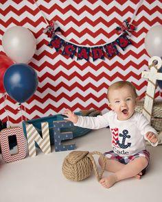 Nautical 1st birthday / Cake smash session / One year photos / Anchor / Sailboat