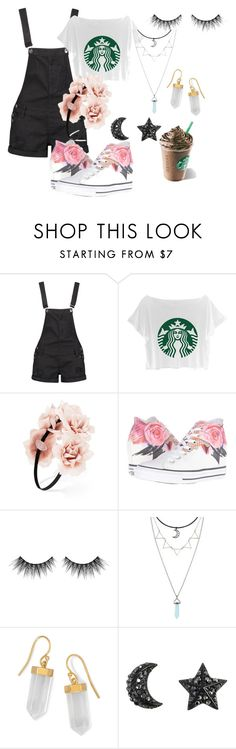 """Starbucks Overalls"" by toxicshadows on Polyvore featuring Boohoo, Forever 21, Converse, Huda Beauty and BillyTheTree"