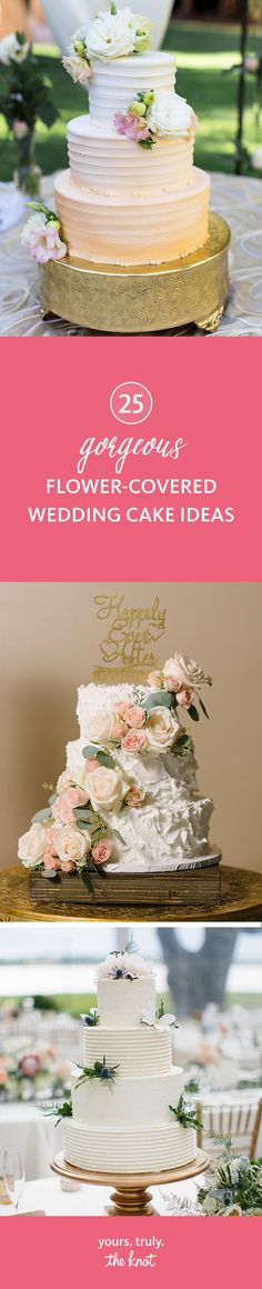 Add a cascade of fresh flowers to your wedding cake for a beautiful effect.