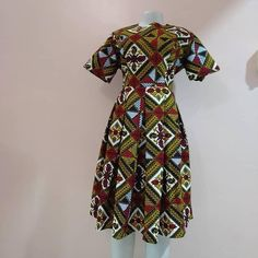 African Tribal Leaves Sweetheart Midi Dress