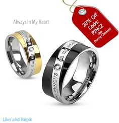 e3e1a2393f Always In My Heart - Round cut cubic zirconia set in gold and black IP  engraved couples stainless steel ring
