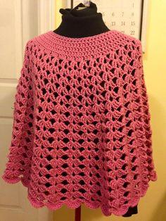 Crochet Poncho Pink Poncho Crochet Shells Crochet by HeikeHeart Crochet T Shirts, Crochet Clothes, Diy Clothes, Granny Square Crochet Pattern, Crochet Patterns, Crochet Woman, Knit Crochet, Ladies Poncho, Crochet Faces