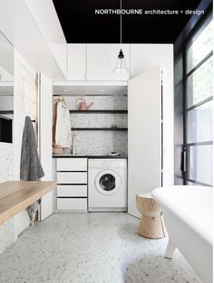 :) Is that a Concealed Laundry with white tapware a diamond mosaic marble splash back? Photo by the wonderful Stay tuned design friends ~ Lots more of this amazing project to come. Concealed Laundry, Hidden Laundry, Small Laundry, Laundry In Bathroom, Small Space Living, Small Spaces, European Laundry, Australian Interior Design, Laundry Room Inspiration