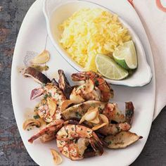 Dionicio Jimenez serves the shrimp head-on, alongside Mexican rice. Buy shrimp without the heads on, and ask your fishmonger to butterfly the shrimp for you.