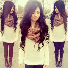 Just everything, the hair, the scarf, the outfit is so cute.