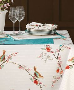 "Lenox Table Linens, 70"" Chirp Round Tablecloth - Table Linens - Dining & Entertaining - Macy's"