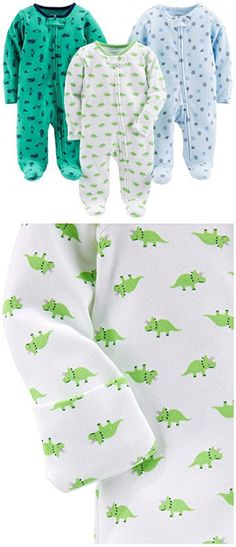 Simple Joys by Carter's Boys' 3-Pack Sleep and Play, Sports, Cars, Dino, 6-9 Months