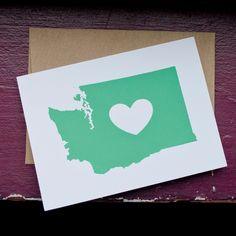 Washington State Hearts You  7x5 Silkscreened by stuffyoulllove, $4.00