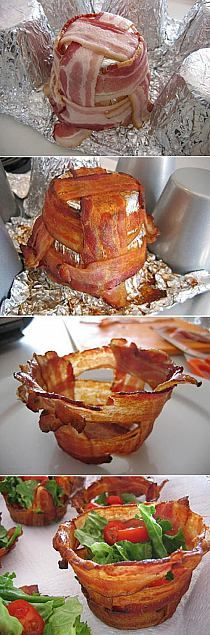 Those annoying bacon bowl commercials can go **** themselves. I can make a bacon bowl with tin foil. If i had a dollar for every time they said bacon bowl i would ba a millionare. (jk plz dont sue me bacon bowl people) Bacon Bowl, Bacon Cups, I Love Food, Good Food, Yummy Food, Yummy Taco, Awesome Food, Great Recipes, Favorite Recipes