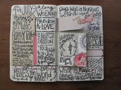 text and tape journaling style...