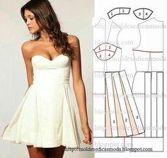 TRANSFORMAÇÃO MOLDE DE VESTIDO Desenhe o molde de vestido (base) frente e costas. Desenhe o decote frente e costas. Desenhe uma linha abaixo do decote na c