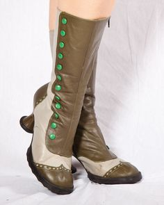 Vintage John Fluevog Babycakes Victorian Boots in Absinthe Greens, size Faerie Costume, Green Costumes, Victorian Boots, John Fluevog, Kelly Green, Calves, Combat Boots, Size 10, Fancy