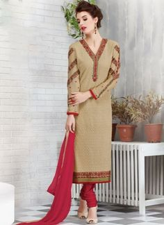 Cream Pink Embroidery Work Georgette Chiffon Designer Churidar Suit  http://www.angelnx.com/Salwar-Kameez