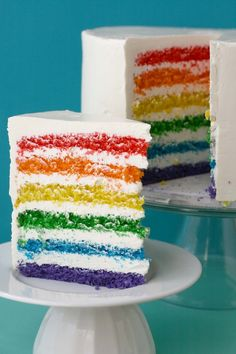 Rainbow cake is a MUST. I like the stripes on the one more than the marbelized rainbow cake I see more often. Also, is there a rule that rainbow cake needs to be white on the outside? Food Cakes, Cupcake Cakes, Rainbow Layer Cakes, Cake Rainbow, Rainbow Food, Rainbow Treats, Rainbow Stuff, Rainbow Colors, Rainbow Jello