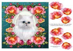 8 x 8 Baby Blue Eyes Kitty Cat & Roses Decoupage by DigitalHeaven